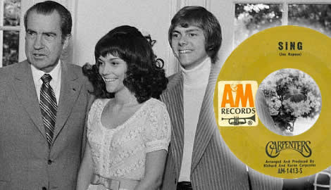The carpenters were clean cut idols in 1973 with a new hit